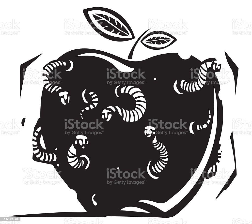 Rotten Wormy Apple vector art illustration