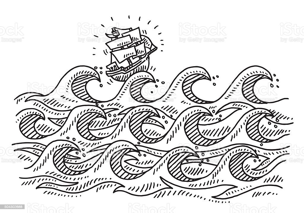 Rough Sea Waves Cartoon Sailing Ship Drawing vector art illustration