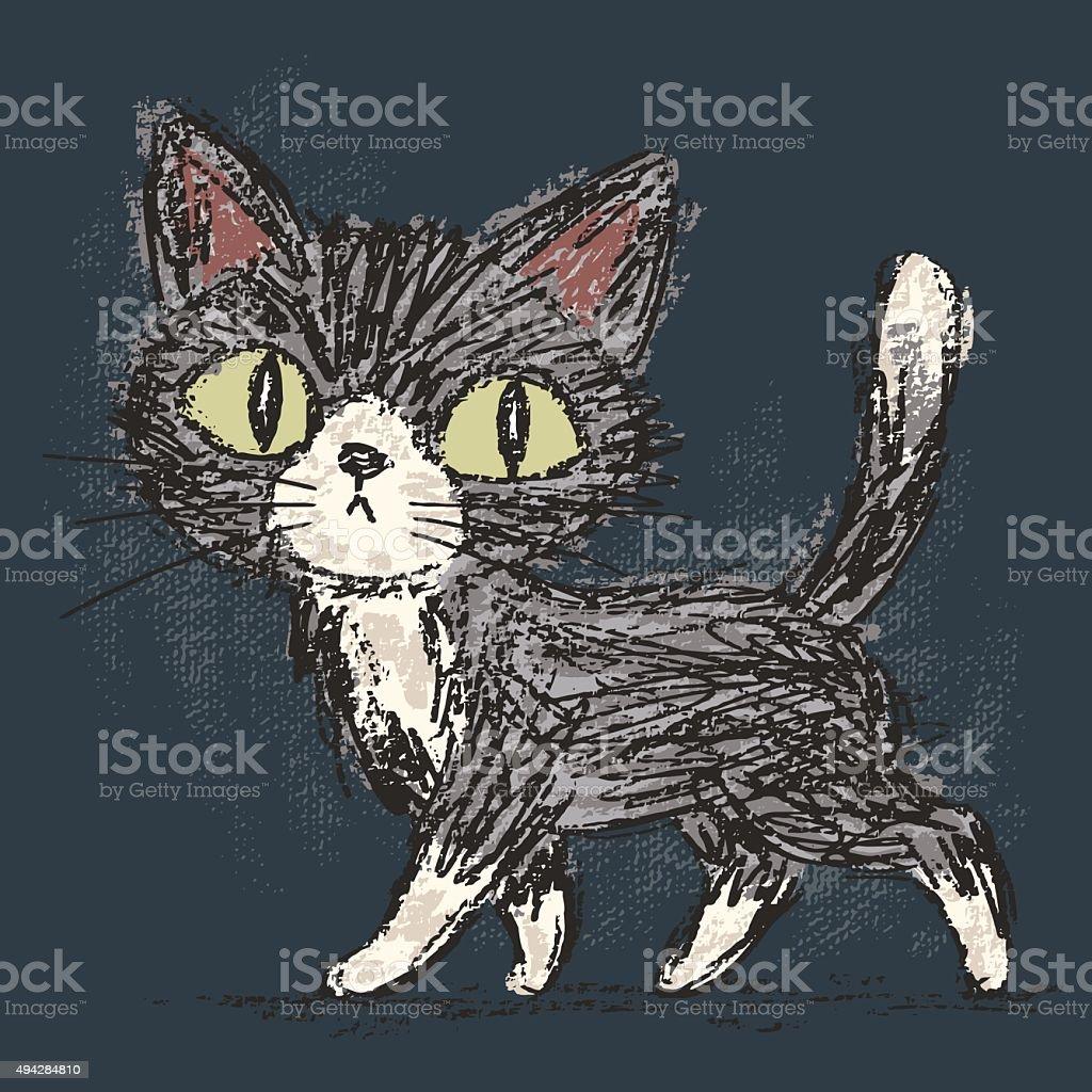 Rough sketch of a cat vector art illustration