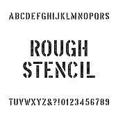 Rough stencil alphabet font. Scratched type letters.