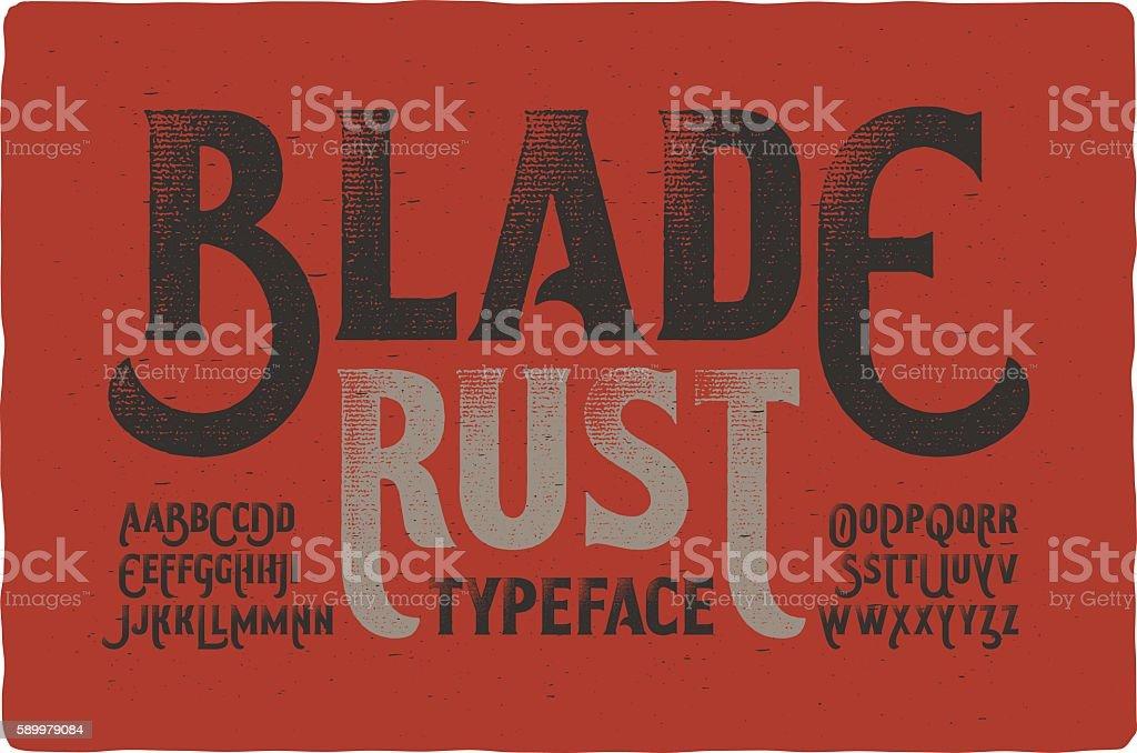 Rough vintage typeface on bloody dirty background vector art illustration