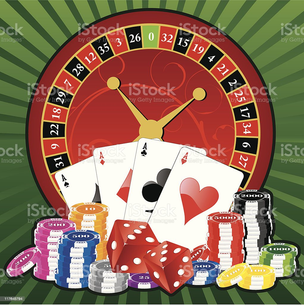 roulette and gambling ellements vector art illustration