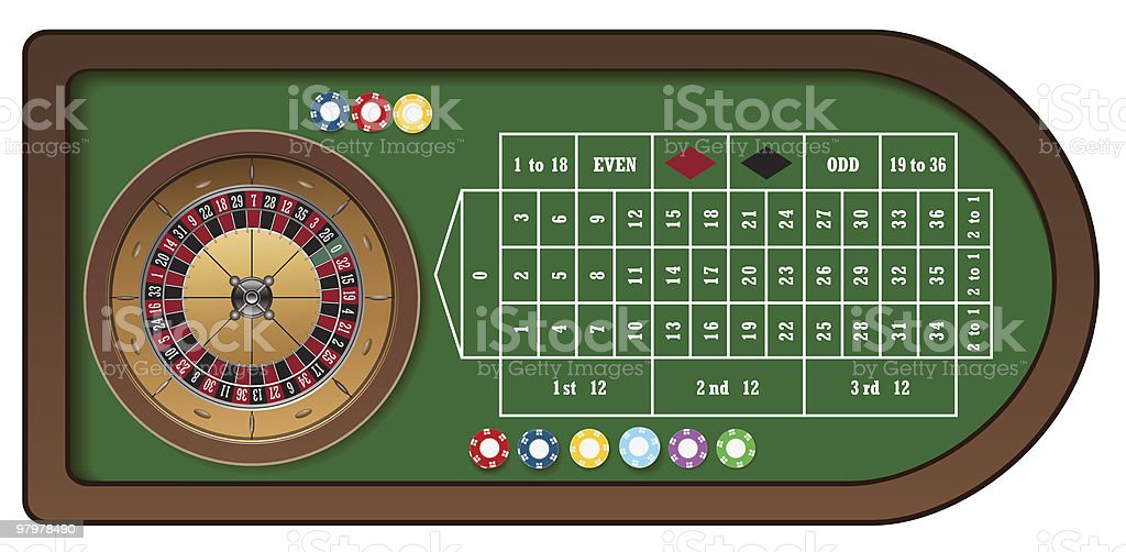 Roulette game table with chips vector art illustration