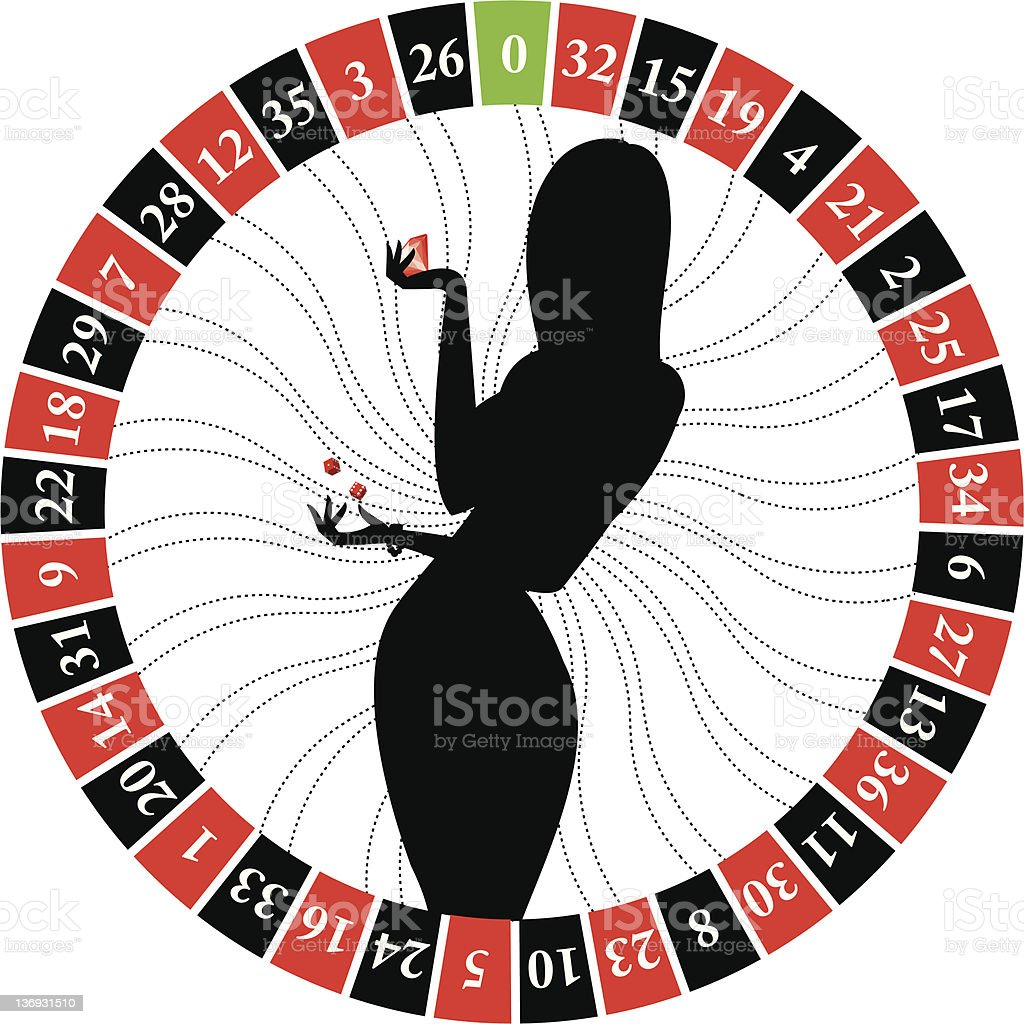 roulette girl silhouette royalty-free stock vector art