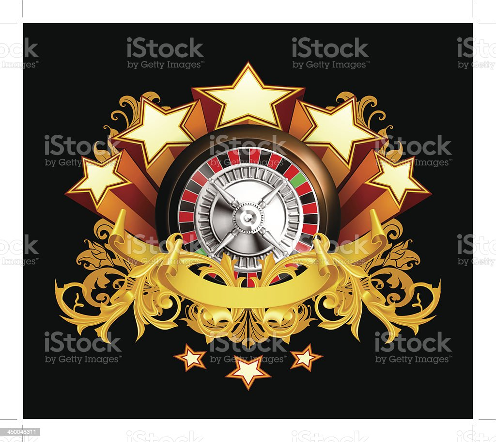 Roulette insignia on black royalty-free stock vector art