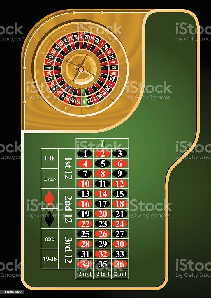 Roulette table layout vector art illustration