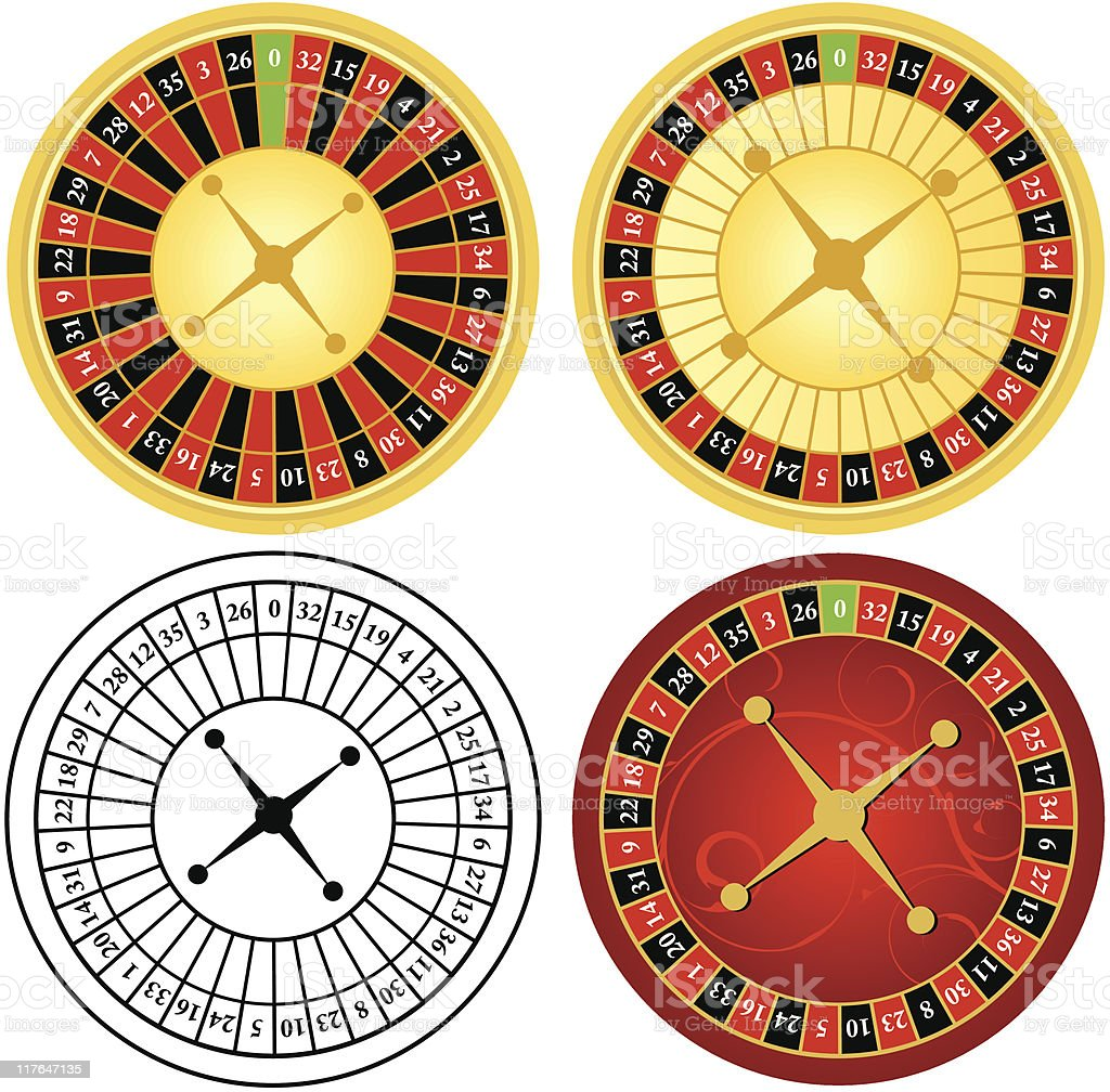 roulette wheels vector art illustration