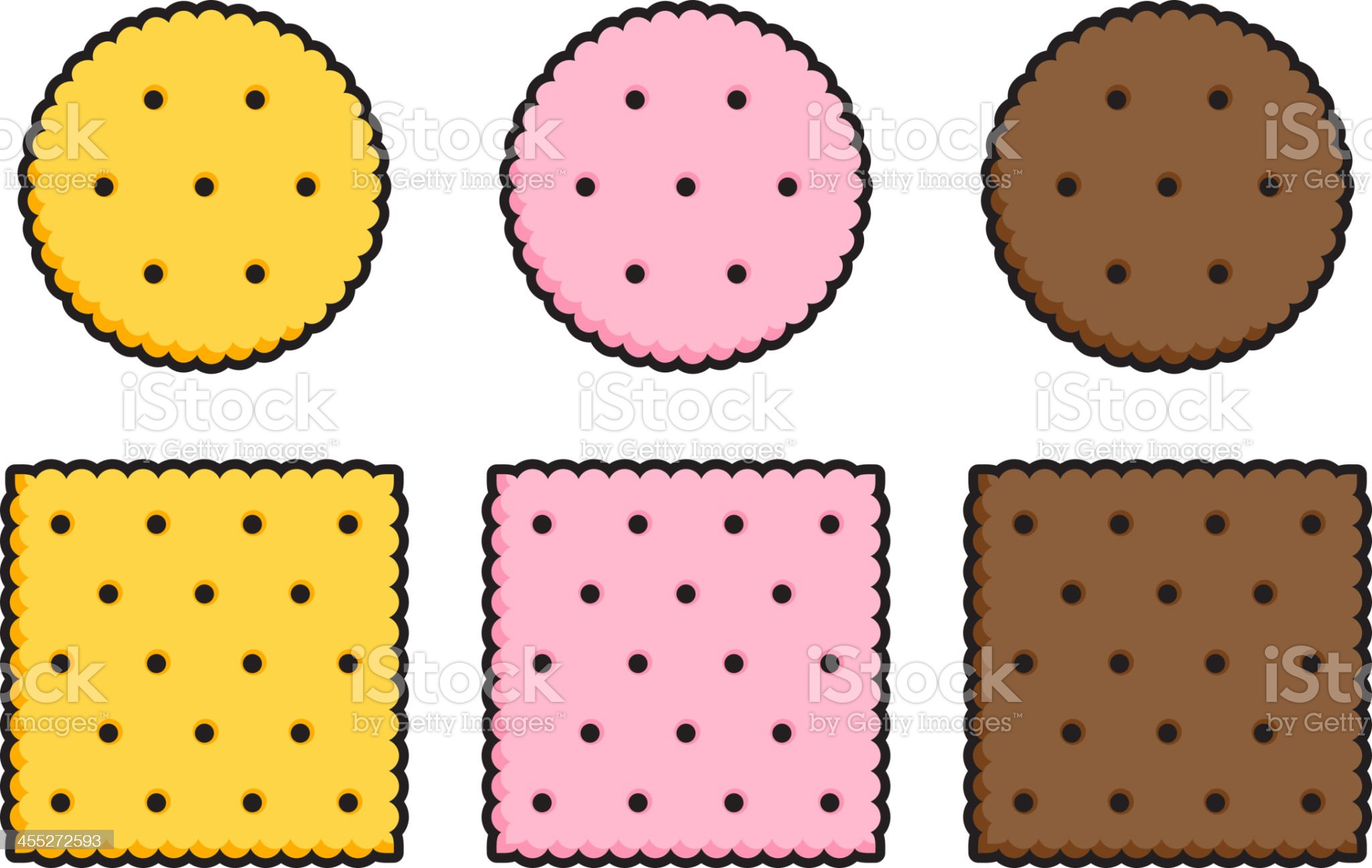 Round and square crackers royalty-free stock vector art