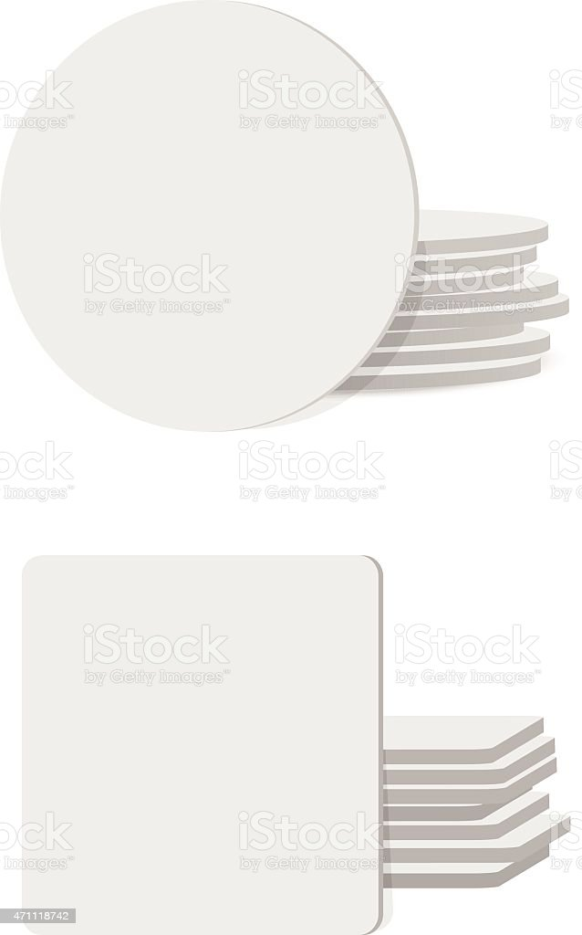 Round and square table coasters vector art illustration