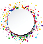 Round background with letters.