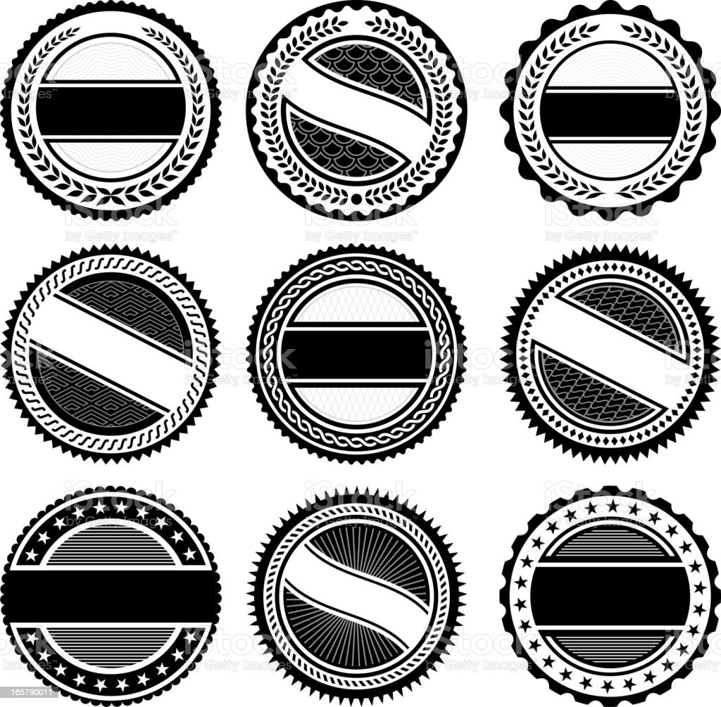 Round Badges black and white royalty free vector icon set royalty-free stock vector art