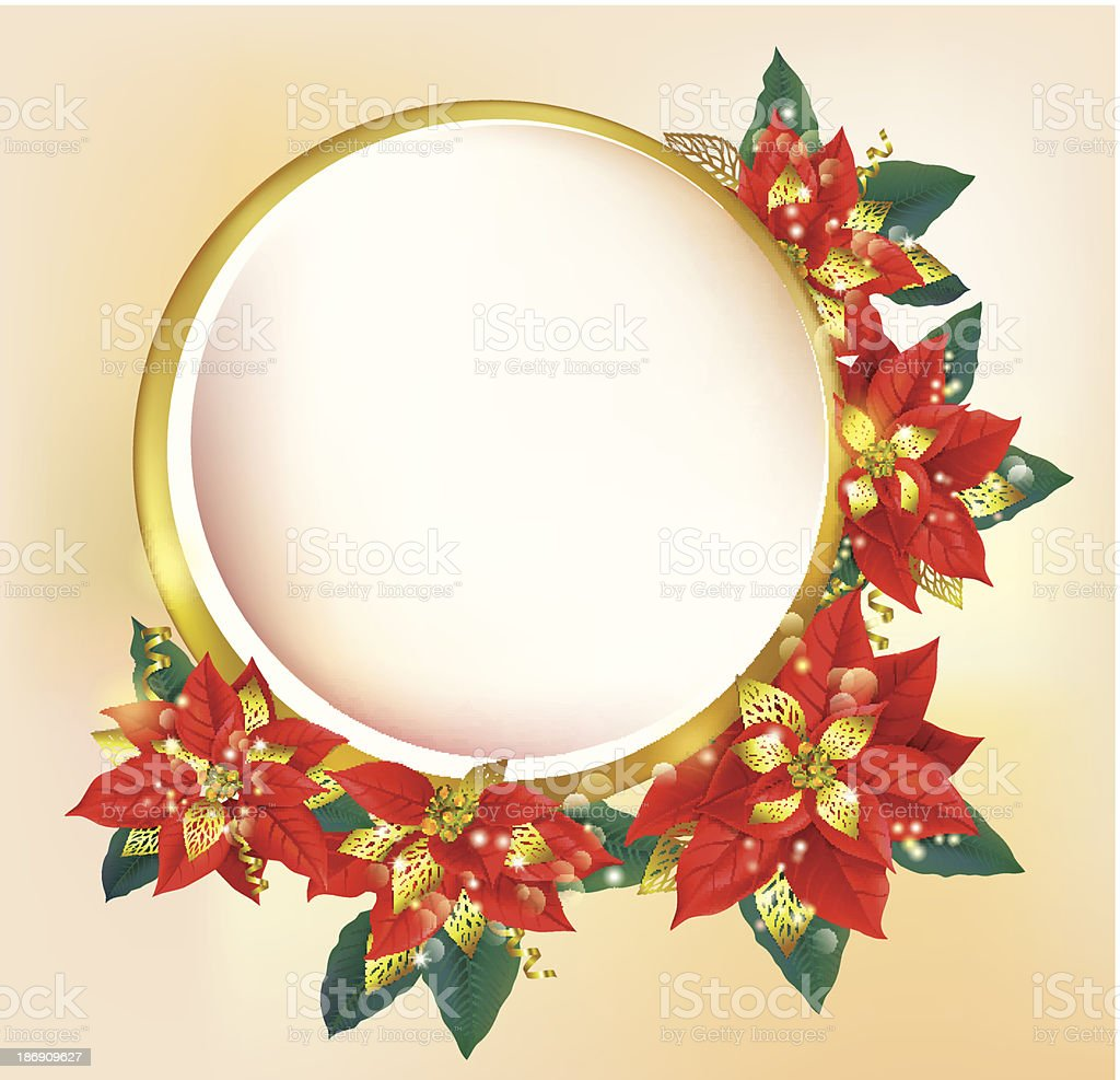 Round banner with Christmas poinsettia royalty-free stock vector art