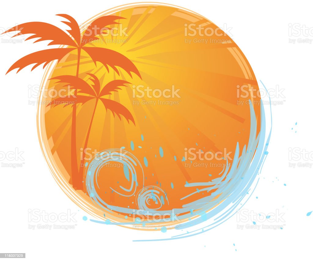 Round banner with palm trees royalty-free stock vector art