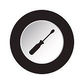 round black and white button - screwdriver icon