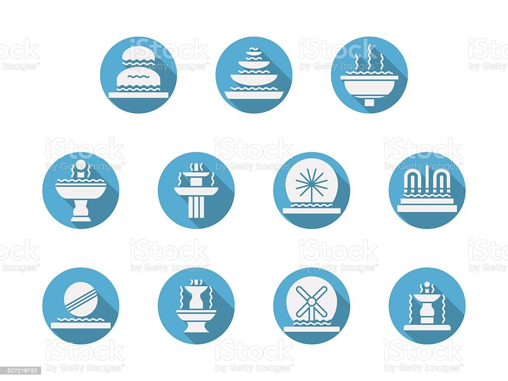 Round blue flat vector icons for fountains vector art illustration