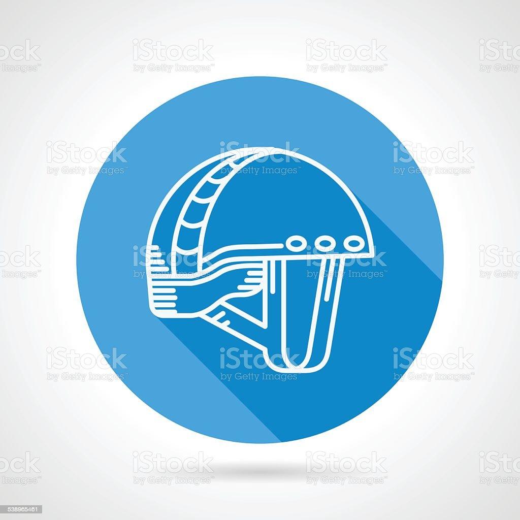 Round blue vector icon for sport helmet vector art illustration