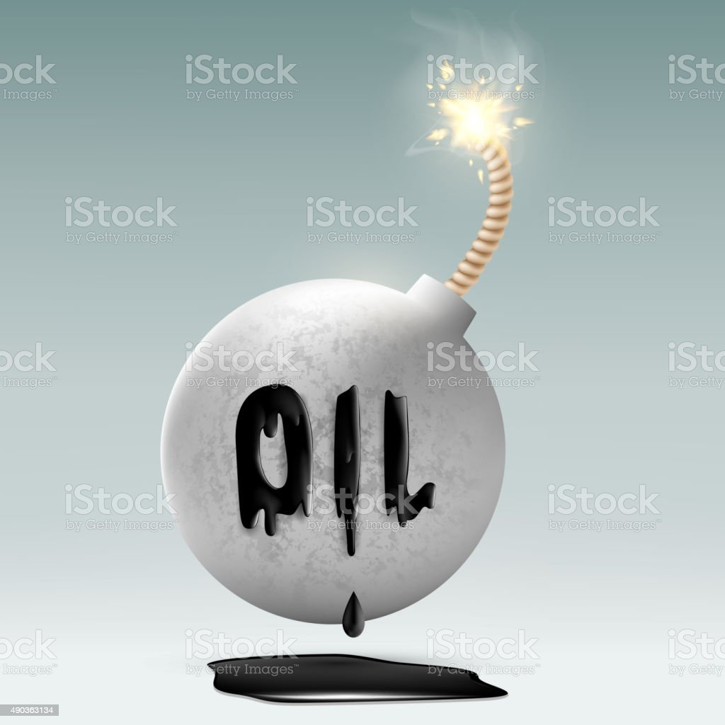 round bomb with a fuse and an inscription oil vector art illustration