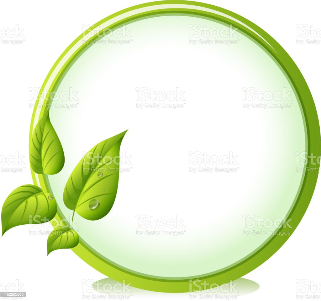 round border with four green leaves royalty-free stock vector art
