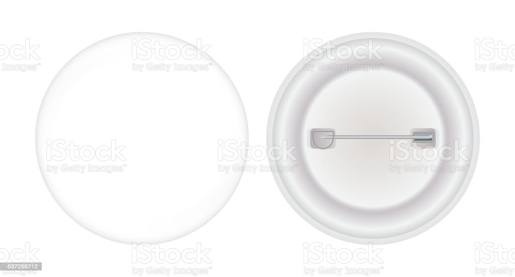 Round Brooch Pin front and backs vector art illustration