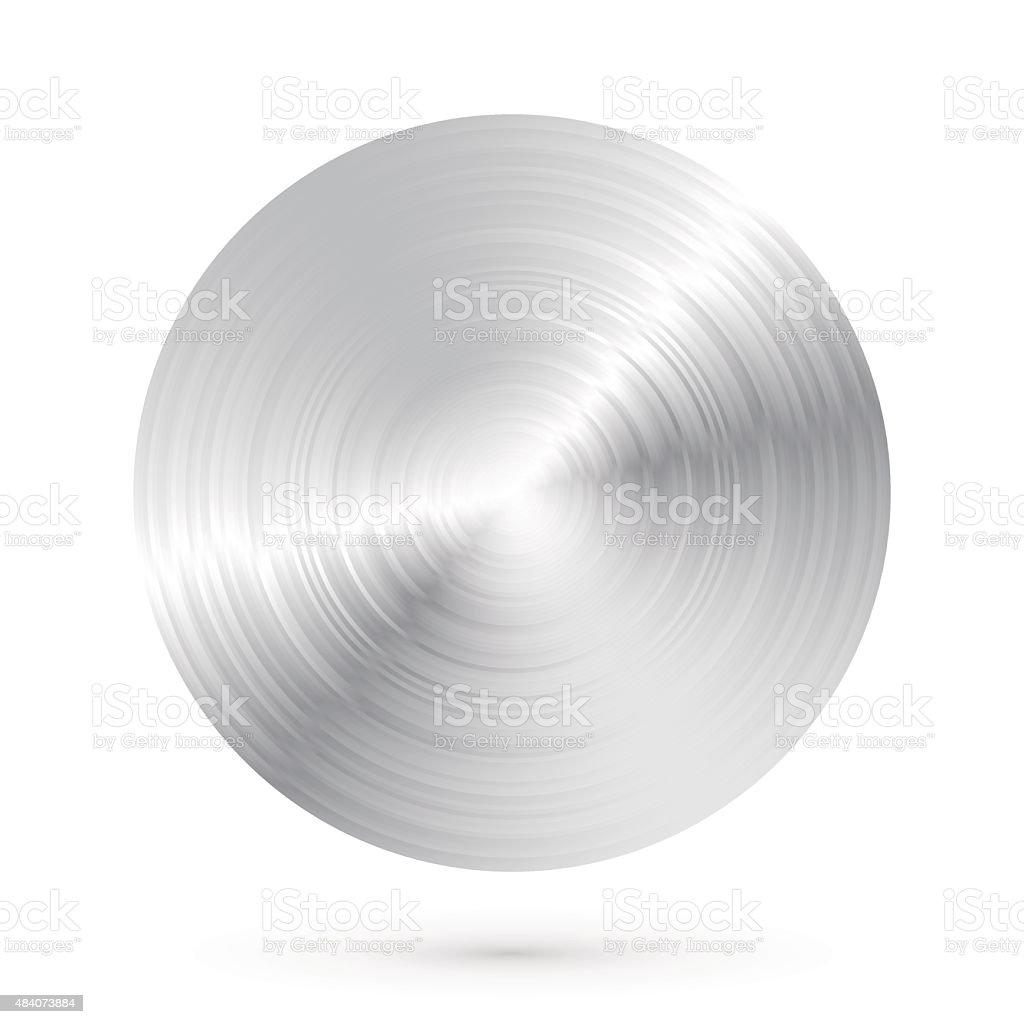 Round brushed metal with highlights and shadows vector art illustration