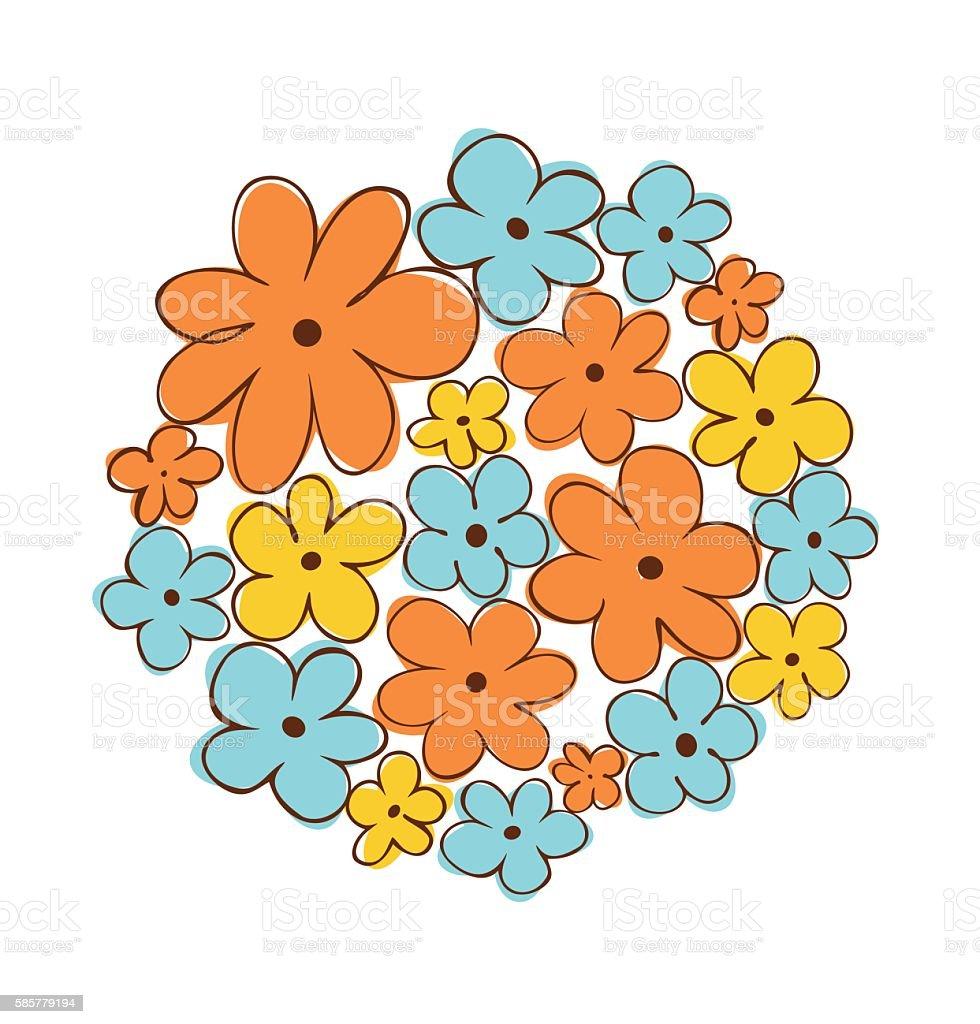 Round bunch of flowers. Flower bouquet vector art illustration