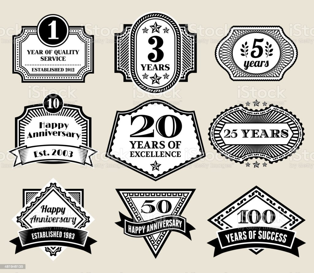 Round Business Anniversary Badges in Black and White royalty-free stock vector art