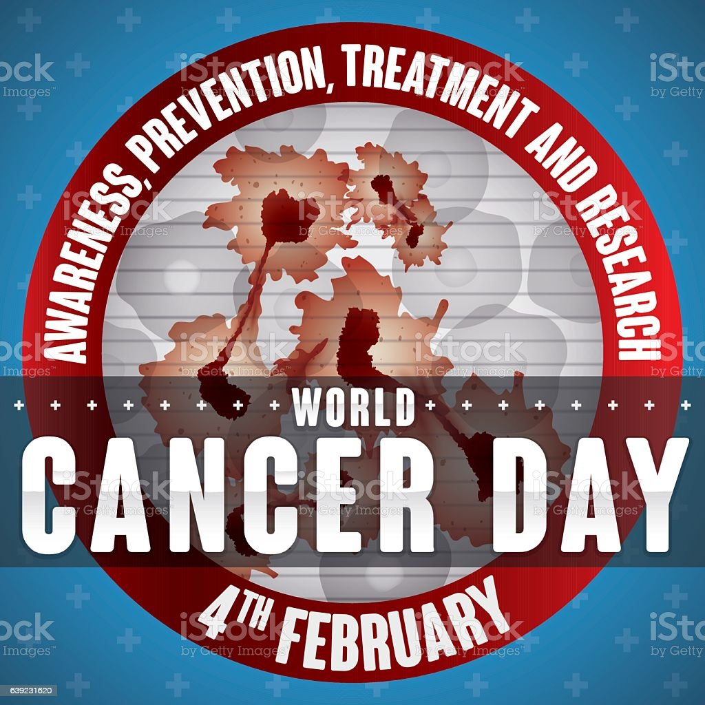 Round Button with Carcinogenic Cells View for Cancer Day Commemoration vector art illustration