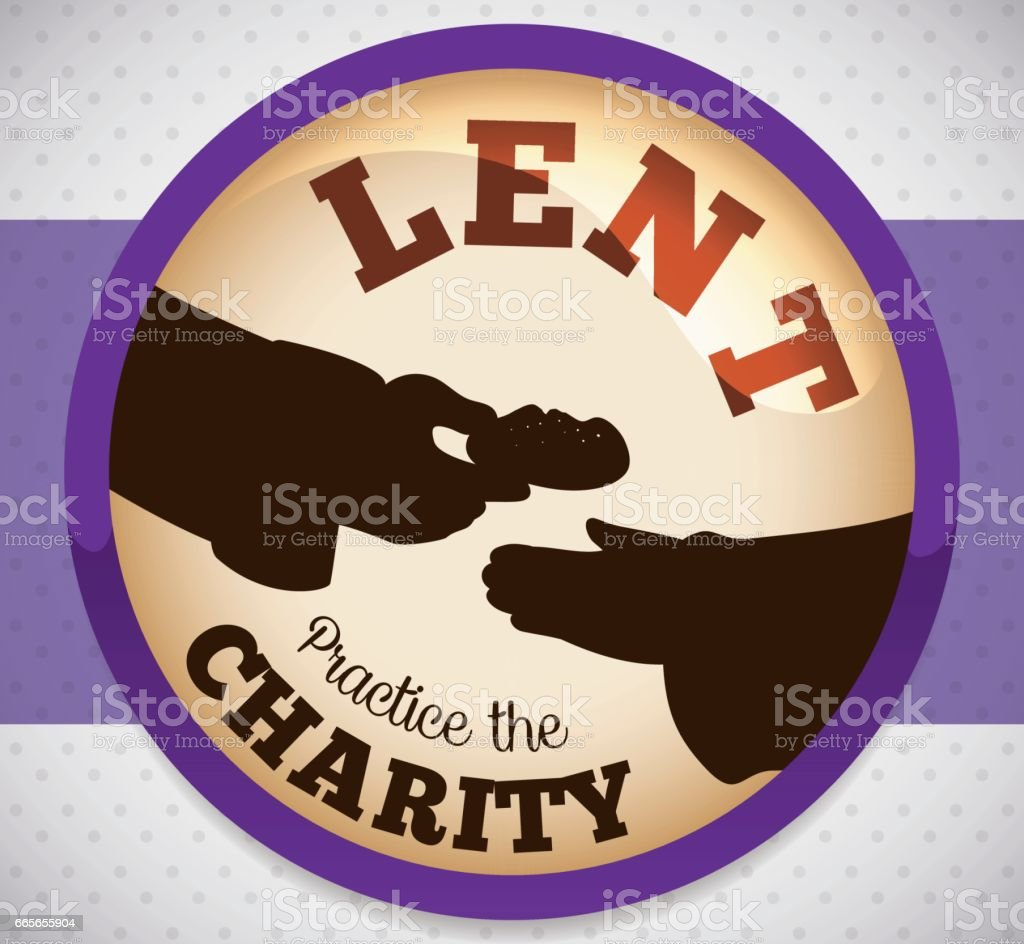 Round Button with Charity Action for Lent vector art illustration