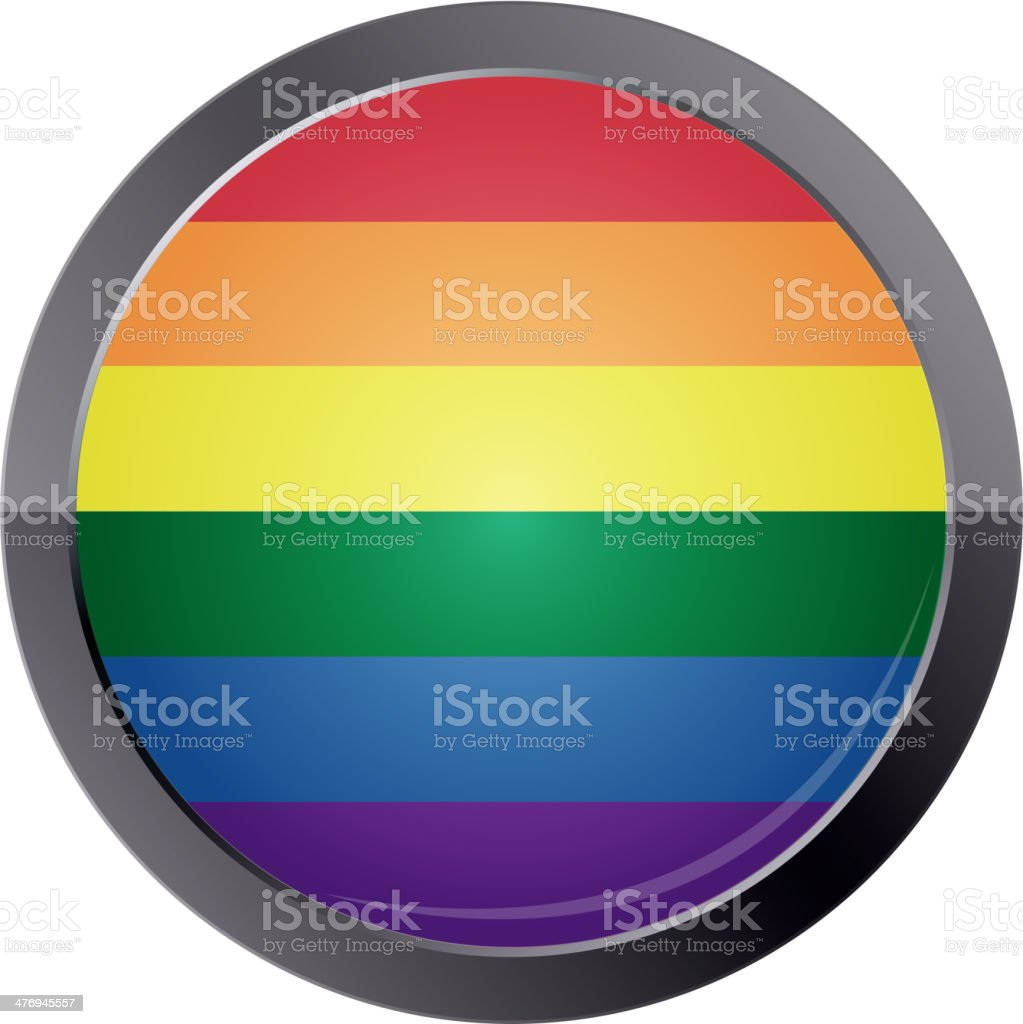 Round button with rainbow flag royalty-free stock vector art