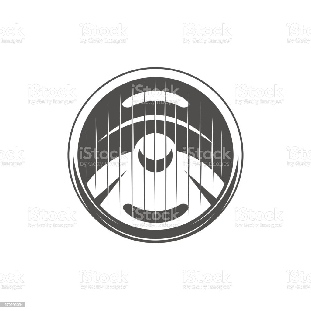 Round car headlight. vector art illustration