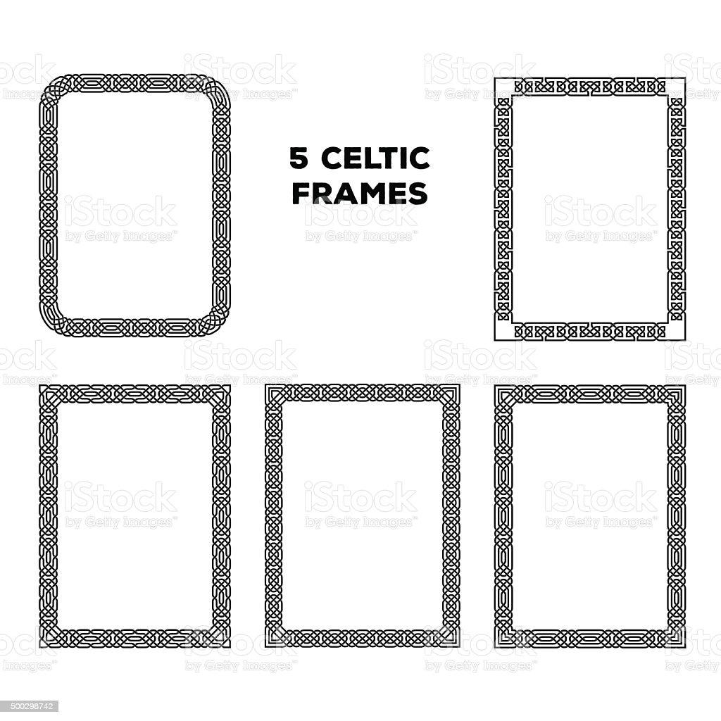 Round Celtic Frames vector art illustration