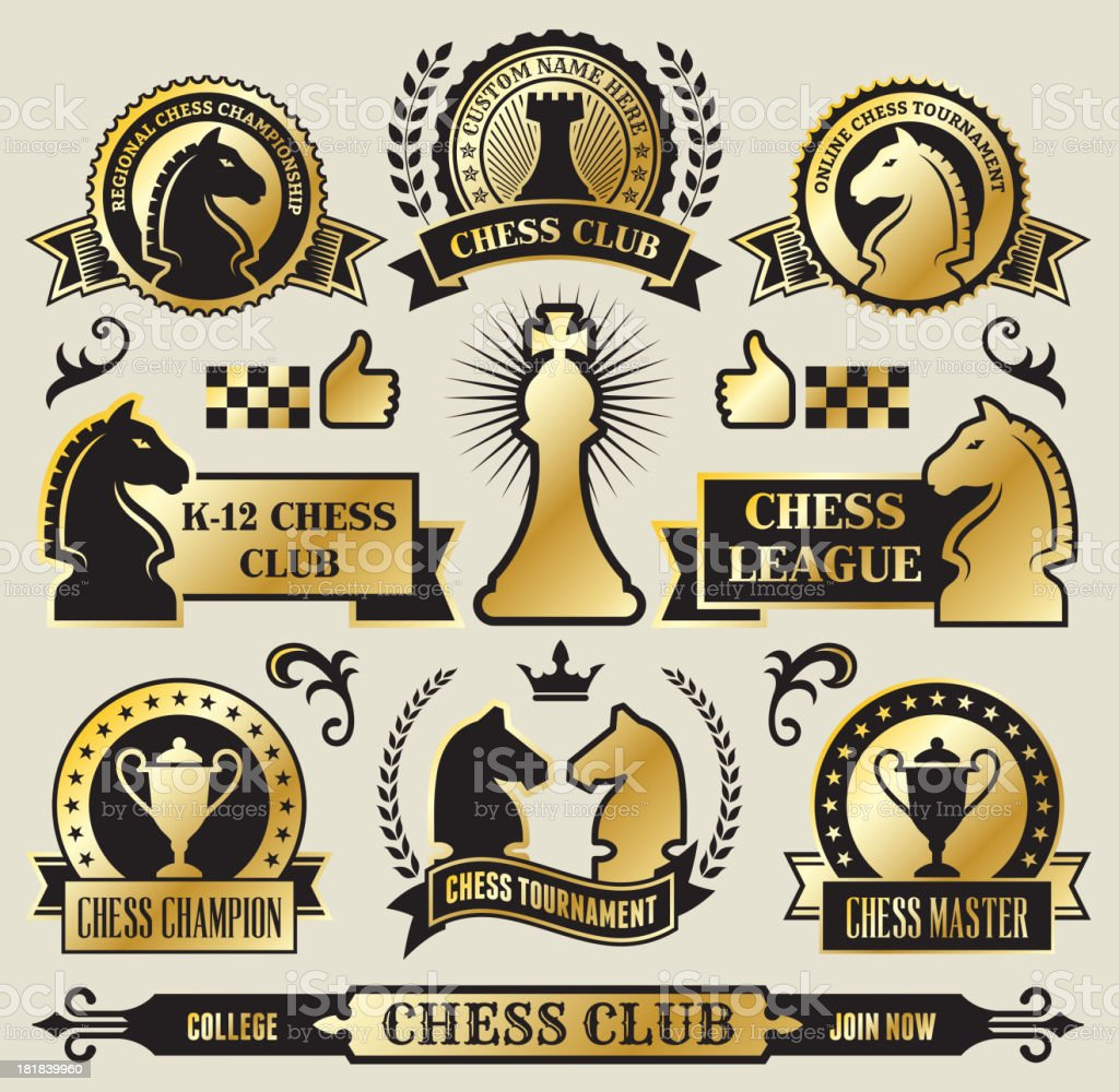 Round Chess Badges on Black and Gold vector art illustration