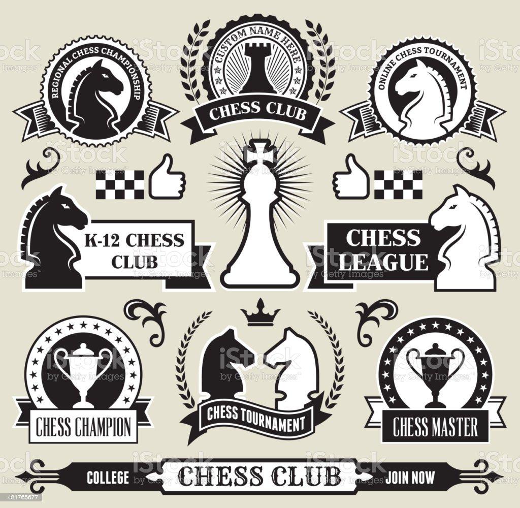 Round Chess Badges on Black and White vector art illustration
