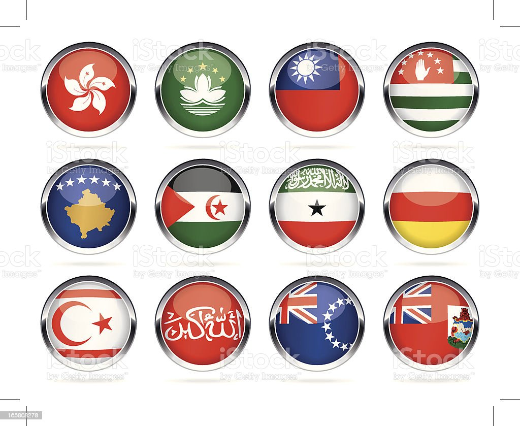 Round Chrome Flags collection - other countries royalty-free stock vector art
