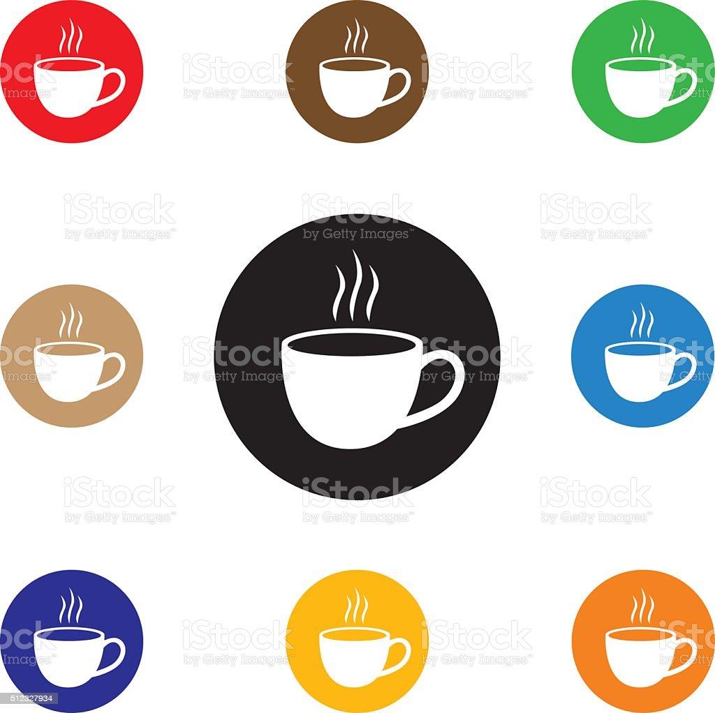 Round Coffee Icons vector art illustration