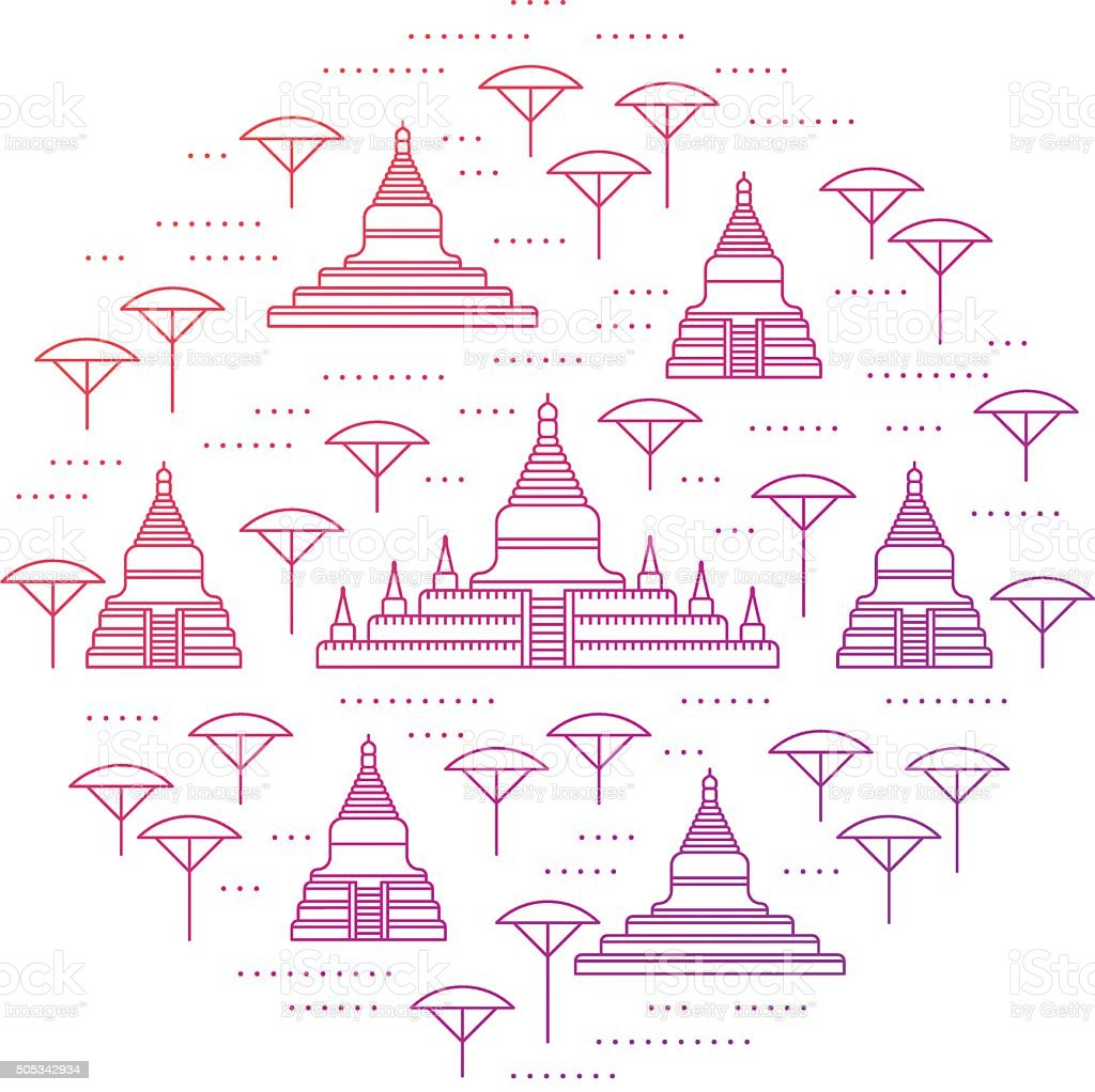 Round collage of Bagan sights vector art illustration