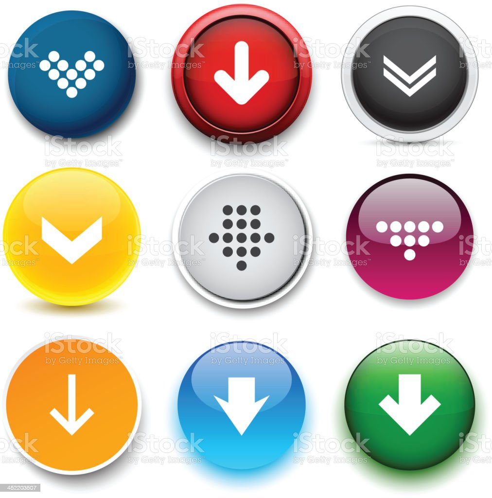 Round color download icons. royalty-free stock vector art