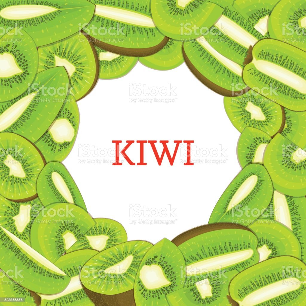 Round colored frame composed of delicious kiwi fruit. Vector card illustration. Circle kiwifruit . Ripe fresh kiwis fruits appetizing looking for packaging design  juice, breakfast food vector art illustration