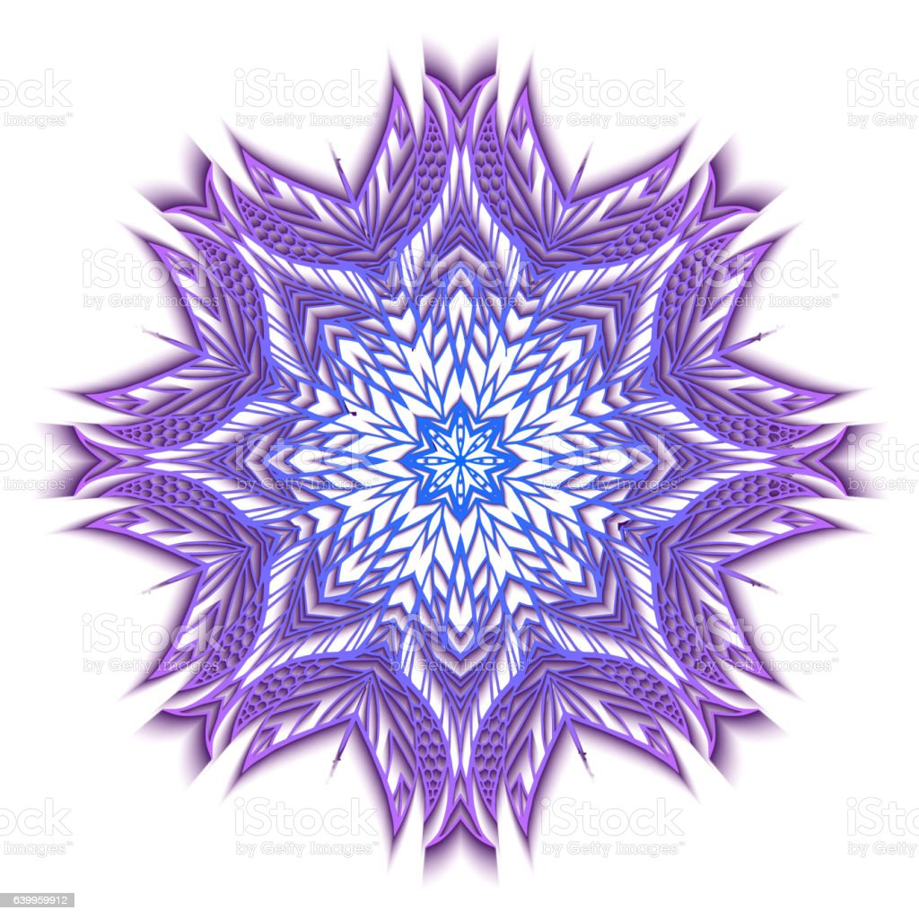 Round colorful 3D mandala with shadow. vector art illustration