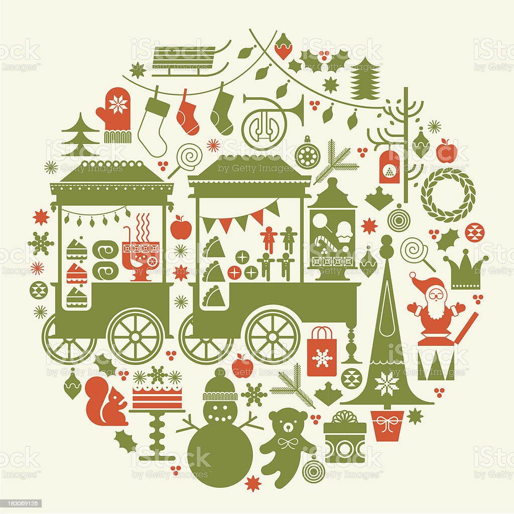 Round composition with Christmas market. vector art illustration