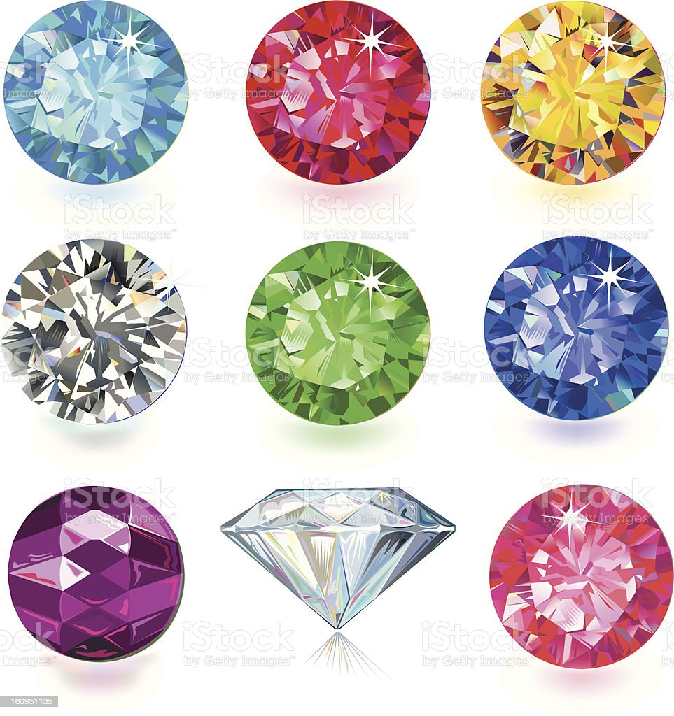 9 round cut faceted gemstones in a rainbow colors vector art illustration