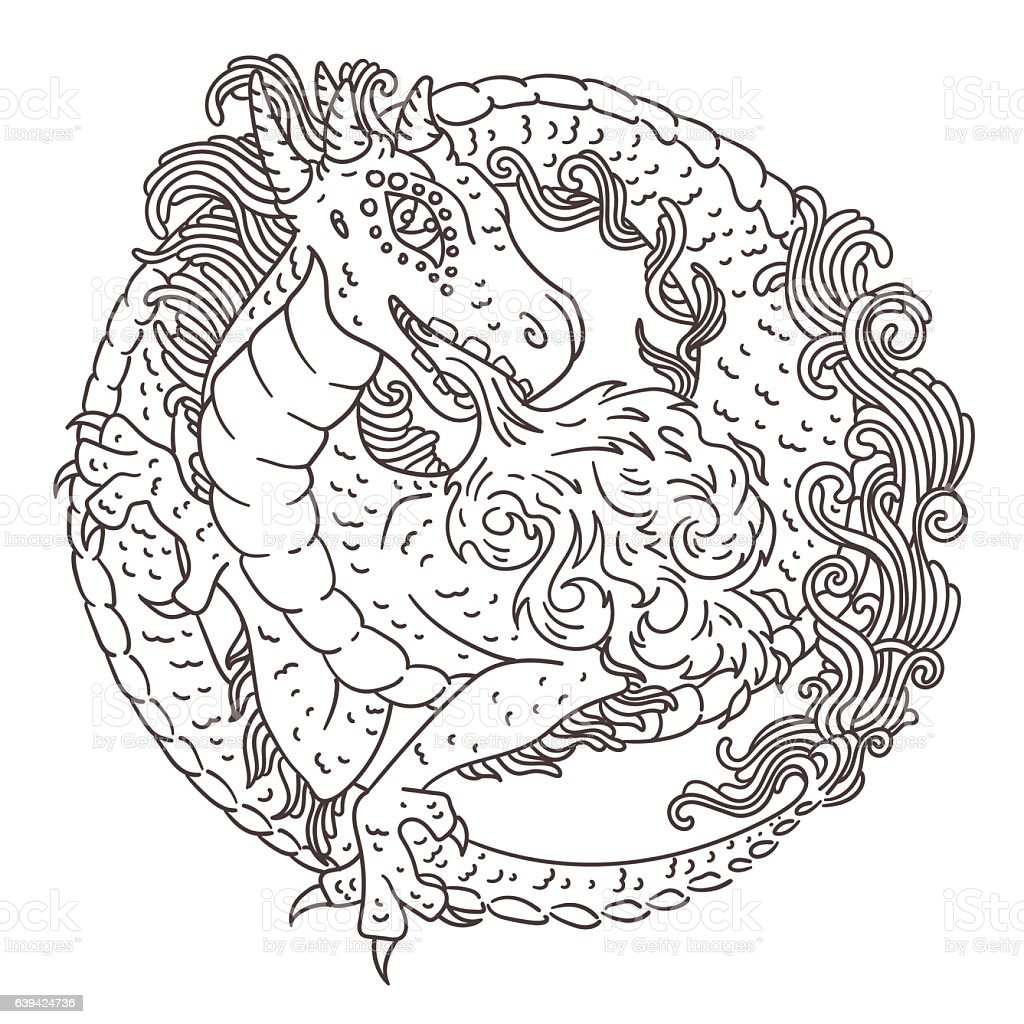 round dragon coloring page stock vector art 639424736 istock