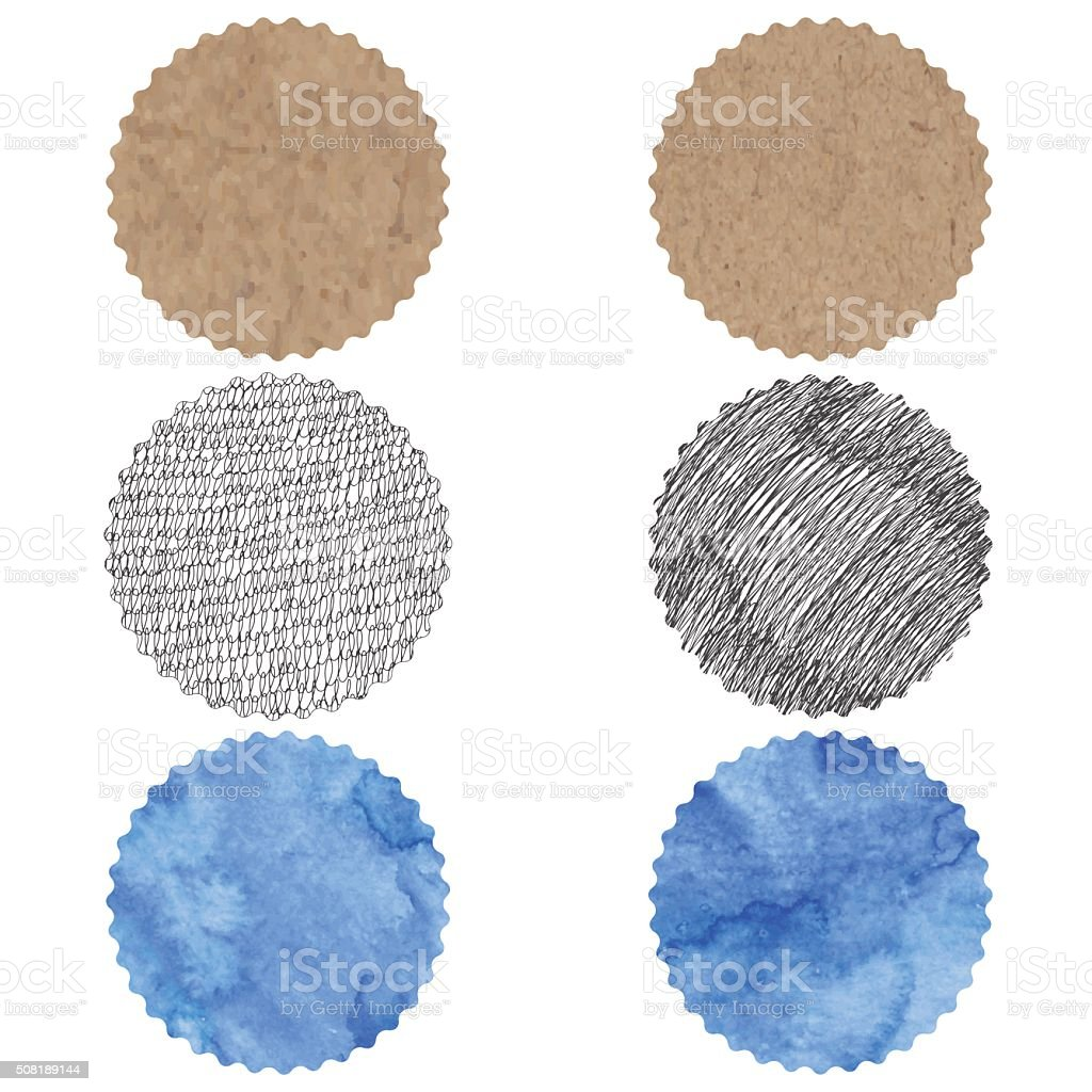 Round elements for design with different textures. vector art illustration