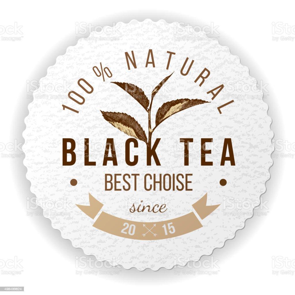 round emblem with hand drawn tea leaf vector art illustration