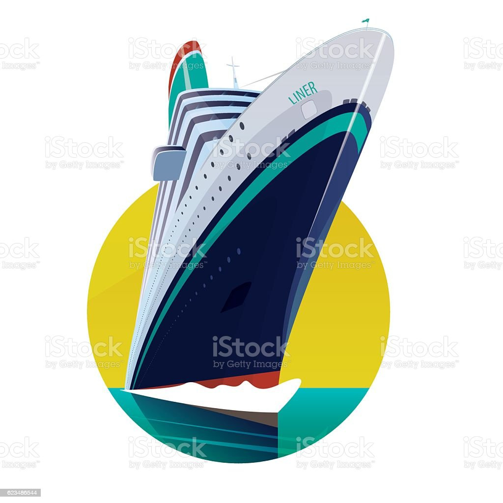 Round emblem with passenger liner vector art illustration