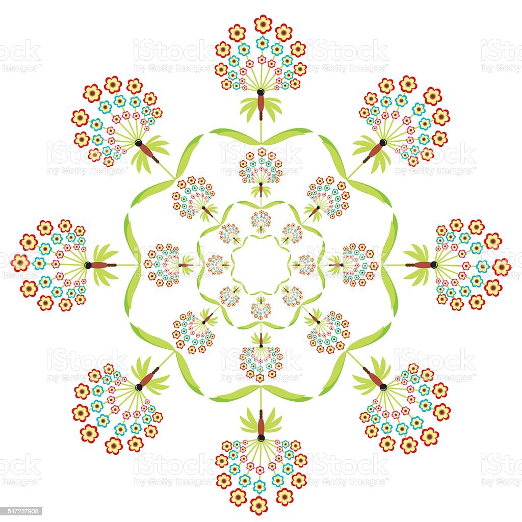 Round embroidery lace style symmetric  floral shape in colo vector art illustration