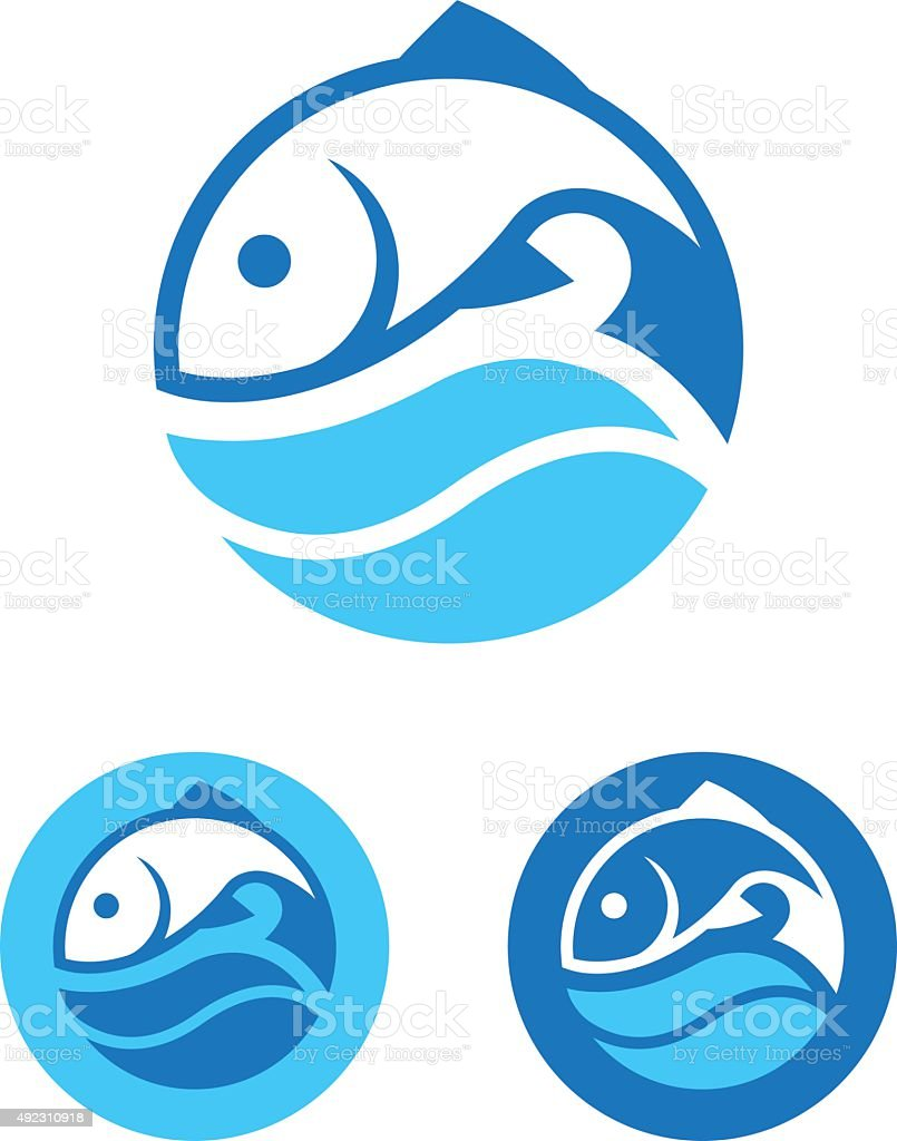Round Fish Icon vector art illustration