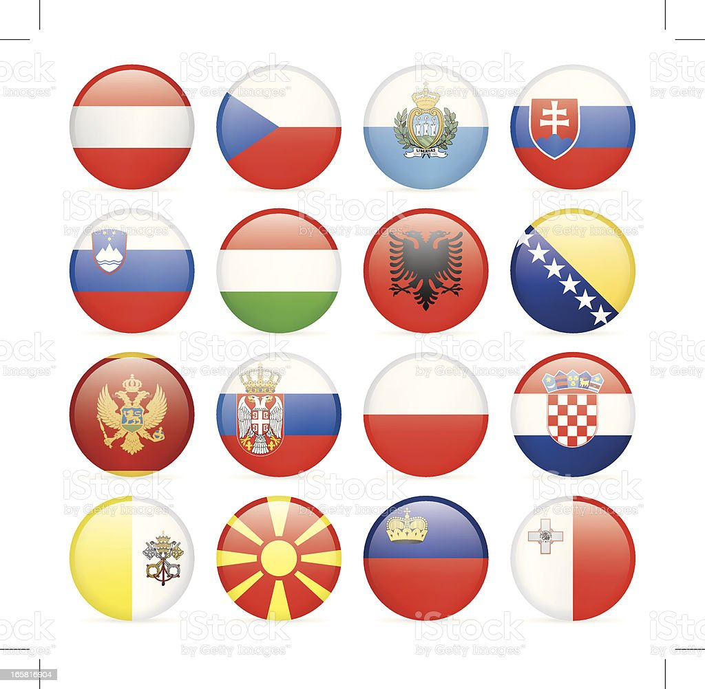 Round Flag Icon Collection - Central and Southern Europe royalty-free stock vector art