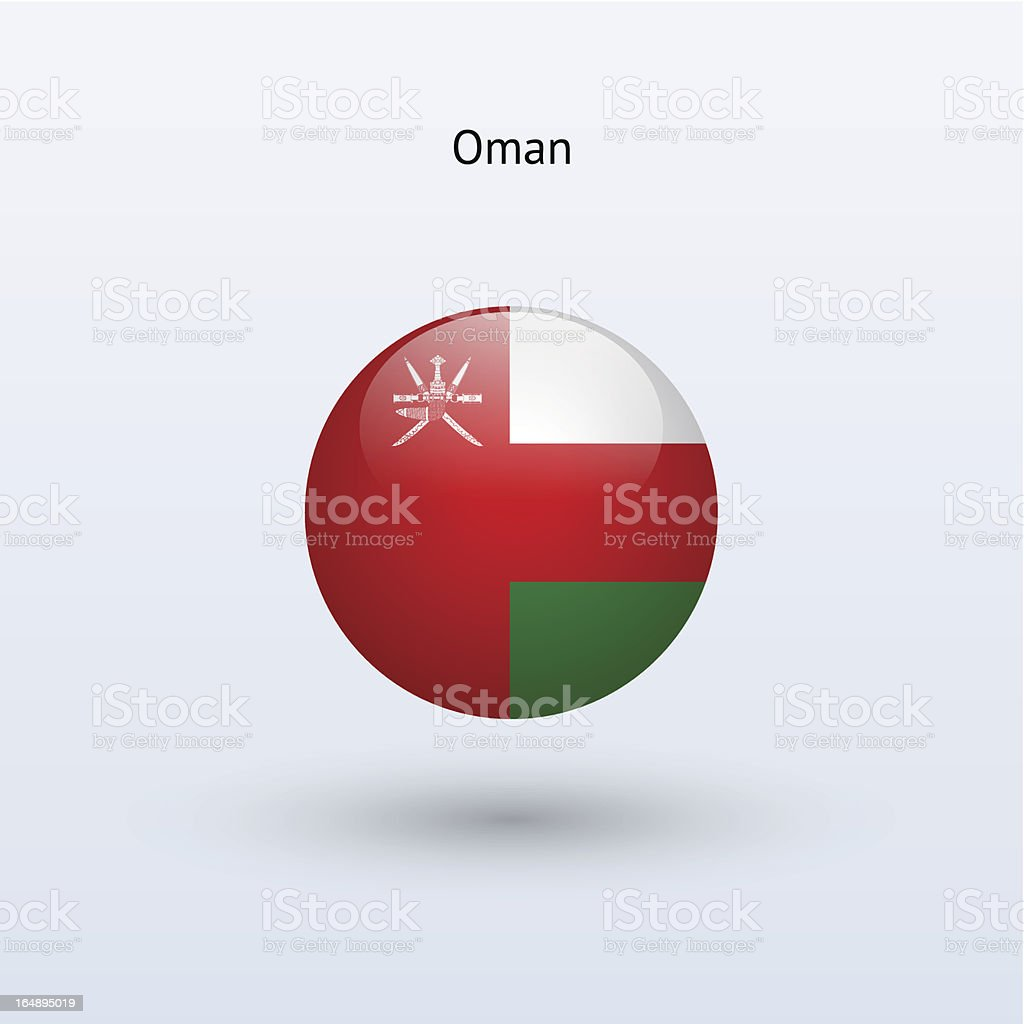Round flag of Oman royalty-free stock vector art