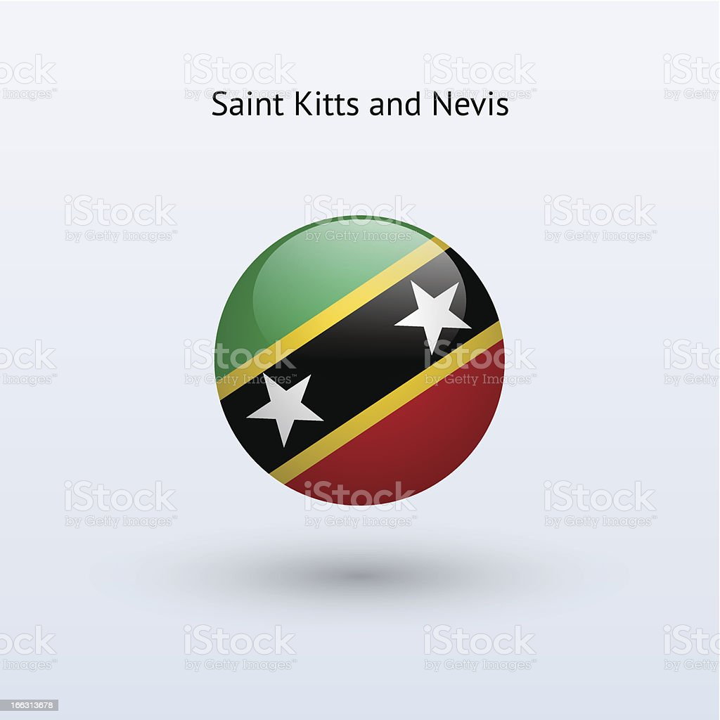 Round flag of Saint Kitts and Nevis royalty-free stock vector art